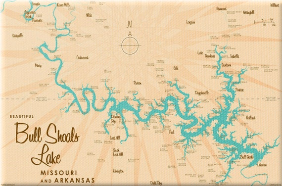 Bull Shoals Lake MO & AR Map Canvas Print | Etsy
