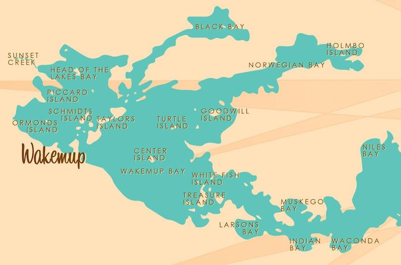 Lake Vermillion Minnesota Map.Lake Vermilion Mn Map Art Print Etsy