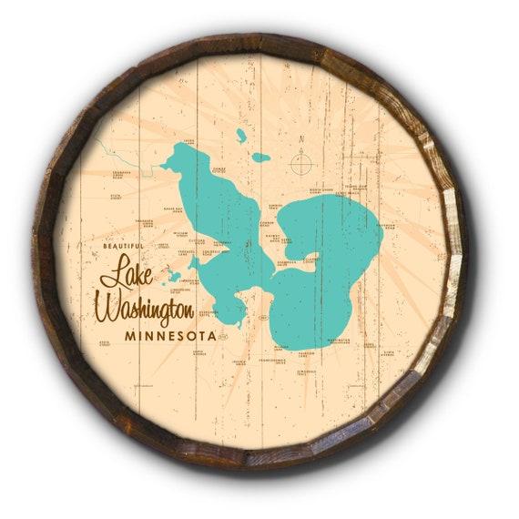lake washington mn map Lake Washington Minnesota Rustic Barrel End Map Art Etsy lake washington mn map