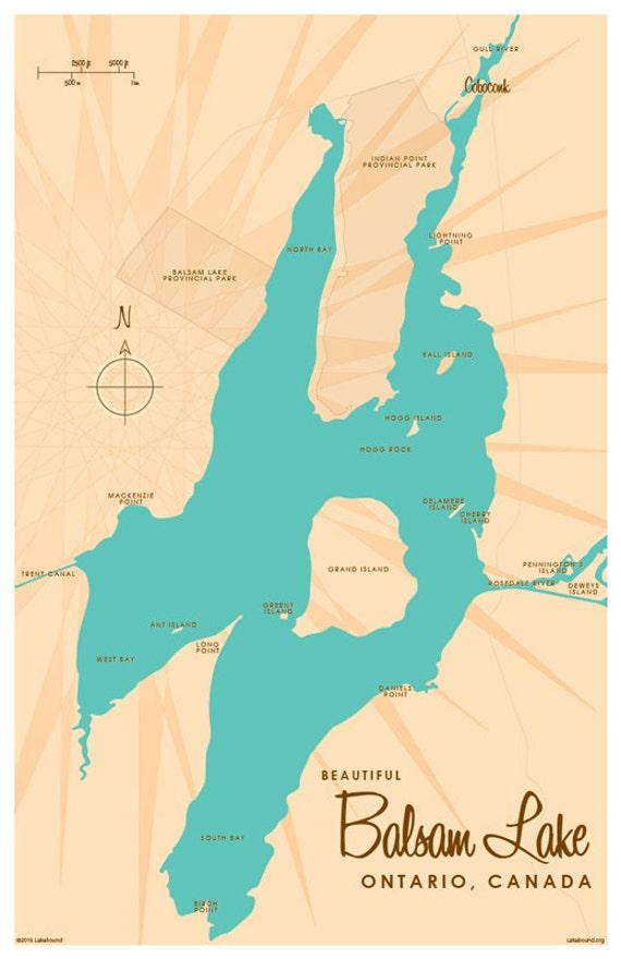 Balsam Lake Ontario Lake Map Print   Etsy