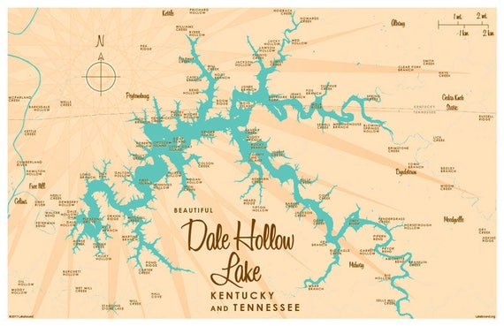Norris Lake Tennessee Map.Dale Hollow Lake Ky Tn Map Art Print Etsy