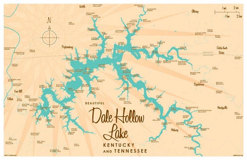 Dale Hollow Lake KY TN Map Art Print | Etsy on