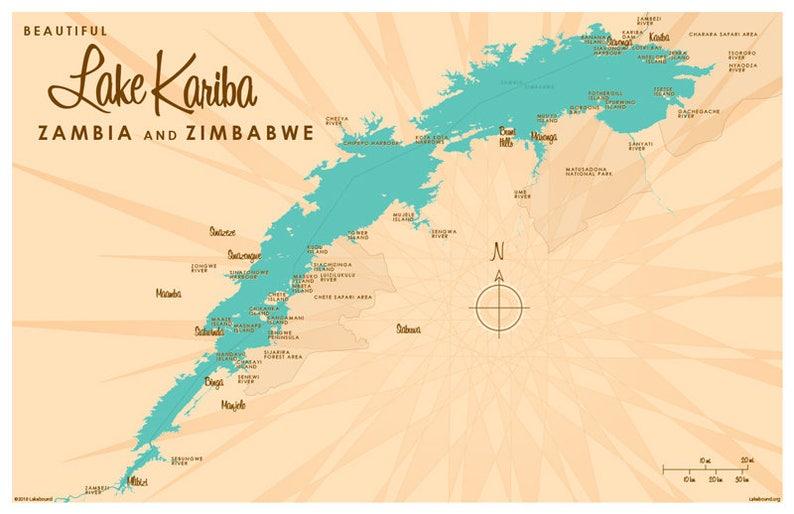 Lake Kariba Africa Map.Lake Kariba Zambia Zimbabwe Map Art Print Etsy