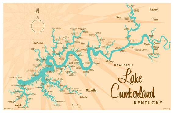 Lake Cumberland KY Map Print | Etsy