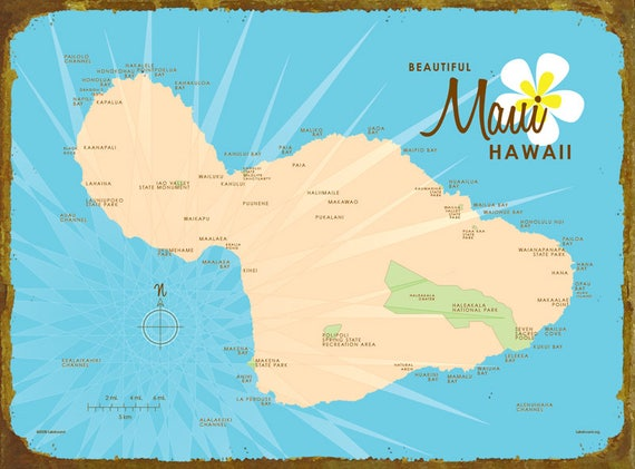 Hawaii Map Maui.Maui Hi Map Blue Map Art Wood Or Metal Sign Etsy