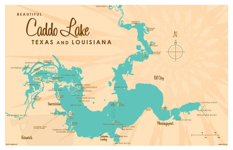 90010 Zip Code Map.Caddo Lake Tx La Map Art Print Etsy