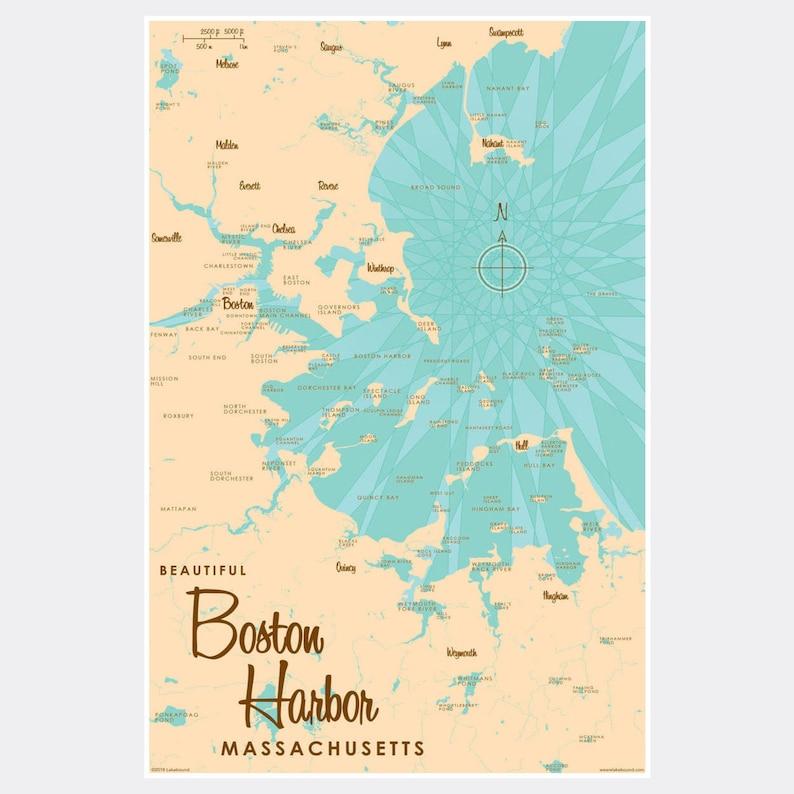 Paper Print Map Art Boston Harbor Massachusetts