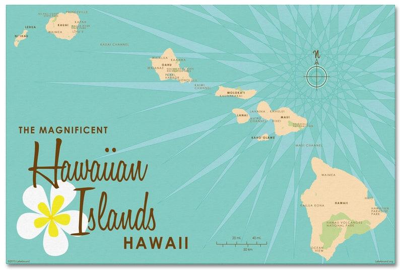 Hawaiian Islands Canvas Map Art image 0