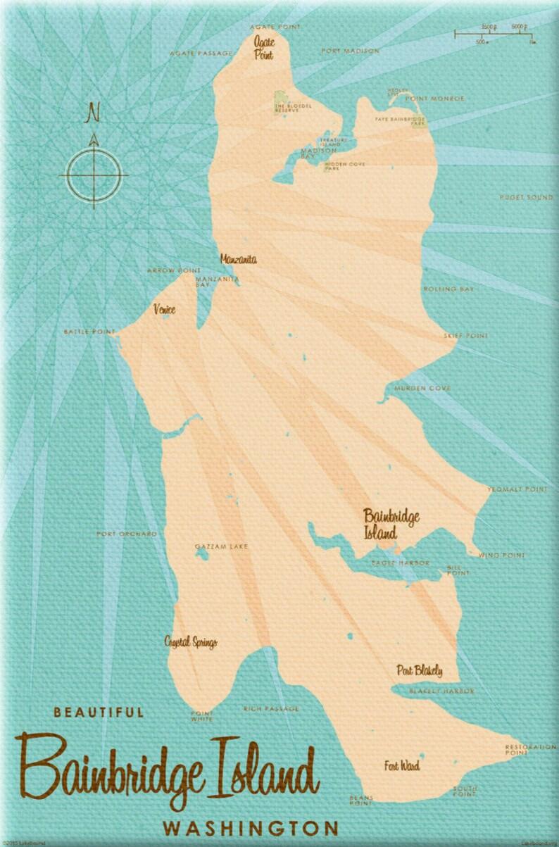 Karte Island Drucken.Bainbridge Island Wa Karte Kunst Leinwand Drucken