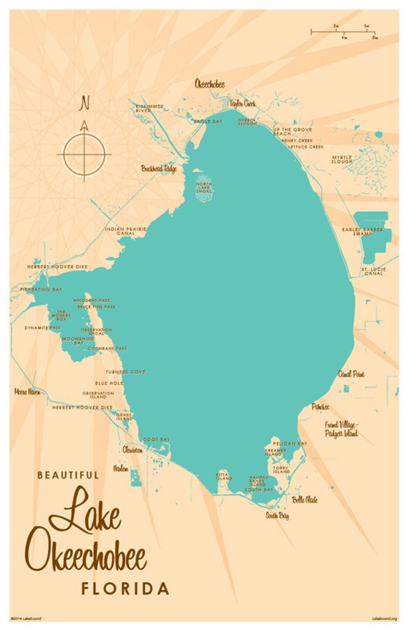Lake Okeechobee Fl Map Art Print Etsy