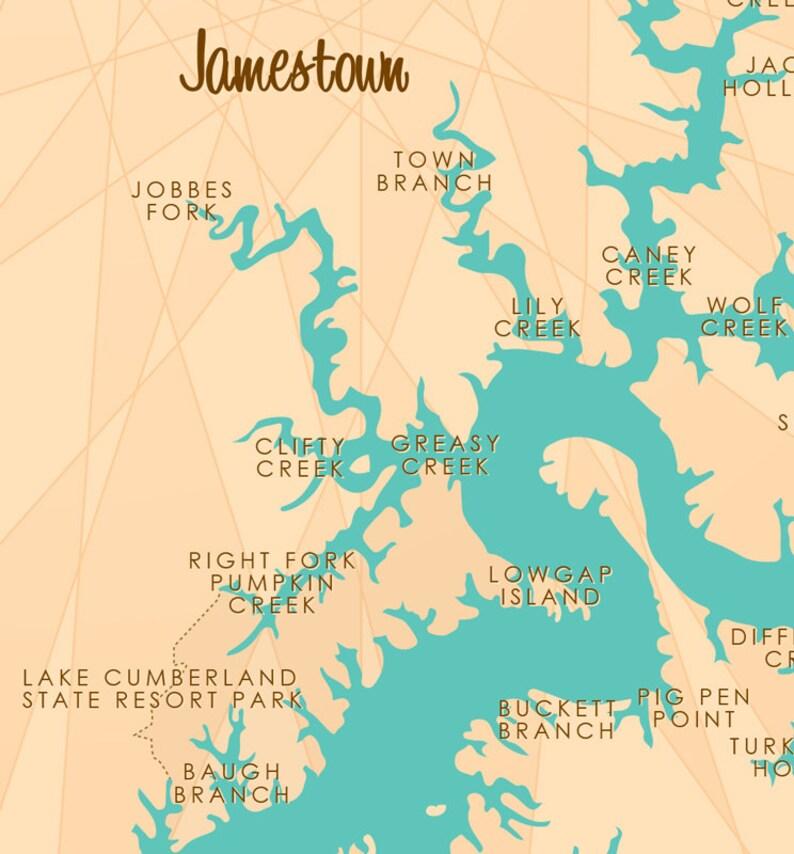 Lake Cumberland, KY Map Art Barrel End
