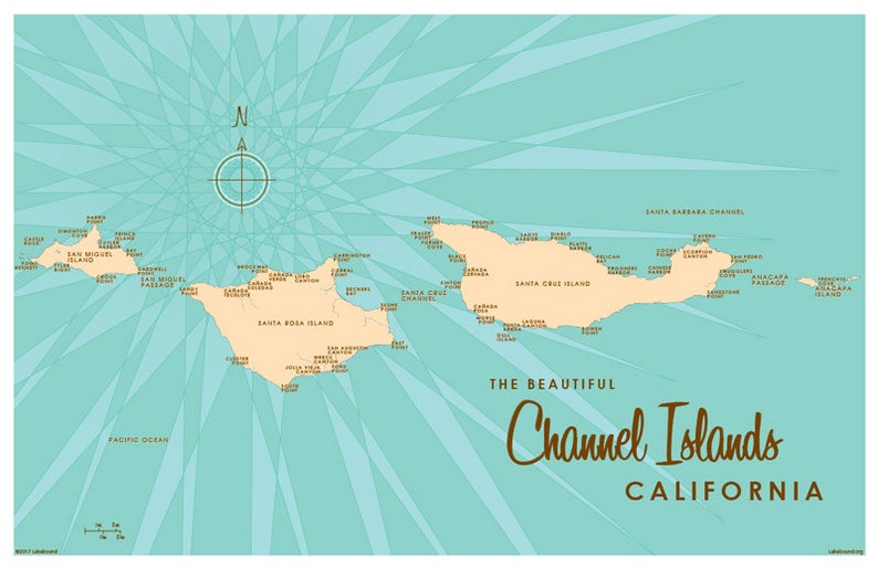 Channel Islands CA Map Art Print | Etsy on