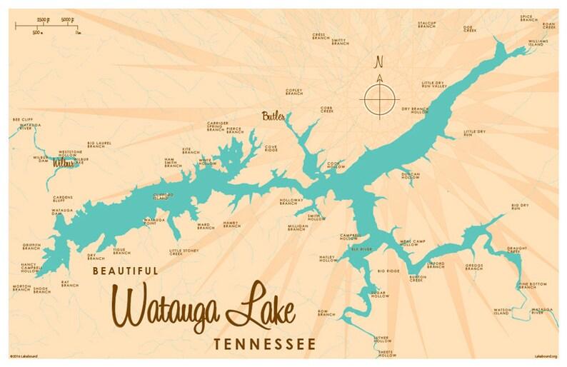 Watauga Lake TN Map Art Print | Etsy on