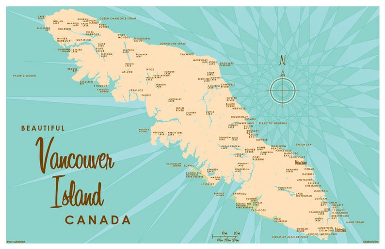 Vancouver Island Canada Map Art Print Etsy