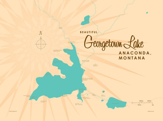 georgetown lake mt map Georgetown Lake Mt Map Art Canvas Print Etsy georgetown lake mt map