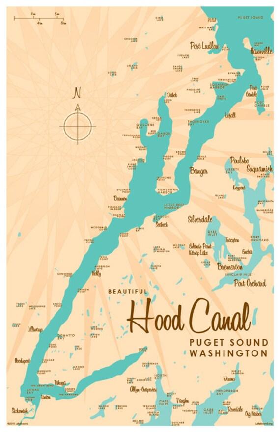 Hood Canal Map Hood Canal Puget Sound Washington Map Print | Etsy Hood Canal Map