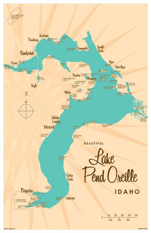 Lake Pend Oreille Id Map Art Print Etsy