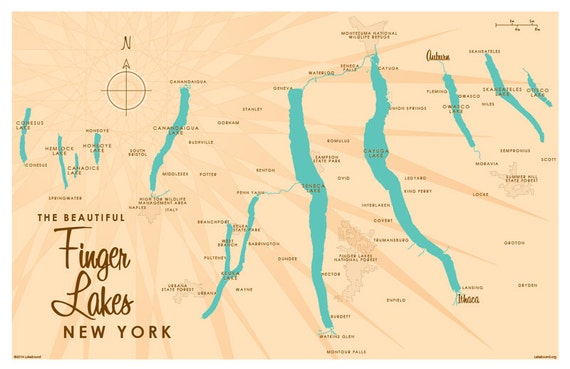 Finger Lakes, NY Map Art Print
