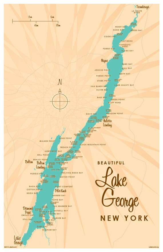 Lake George Ny Map Lake George NY Map Print | Etsy Lake George Ny Map