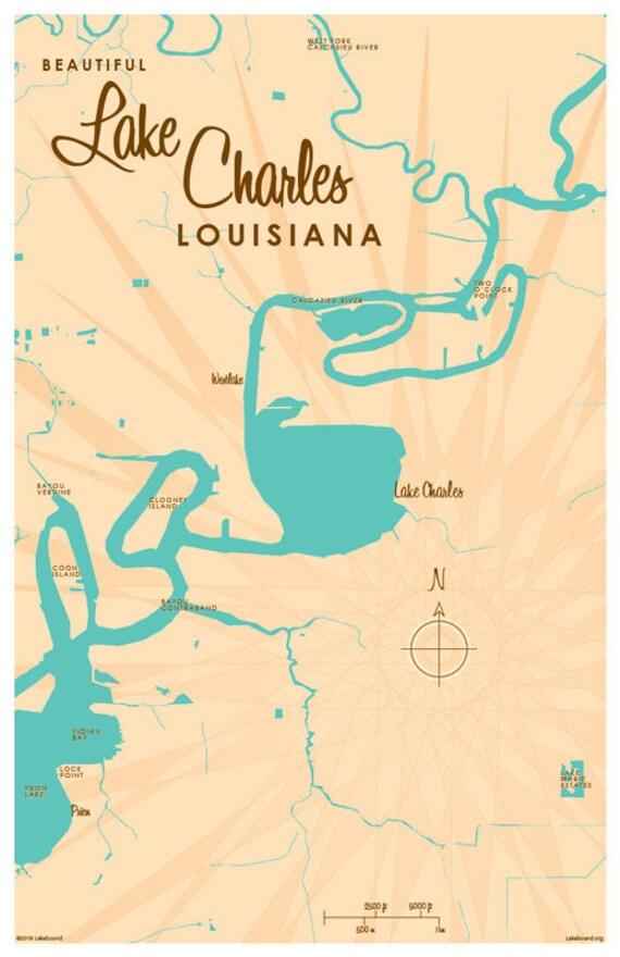 Lake Charles La Map Art Print Etsy