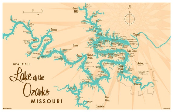 Lake Of The Ozarks Map Lake of the Ozarks MO Map Print with mile markers   Etsy Lake Of The Ozarks Map