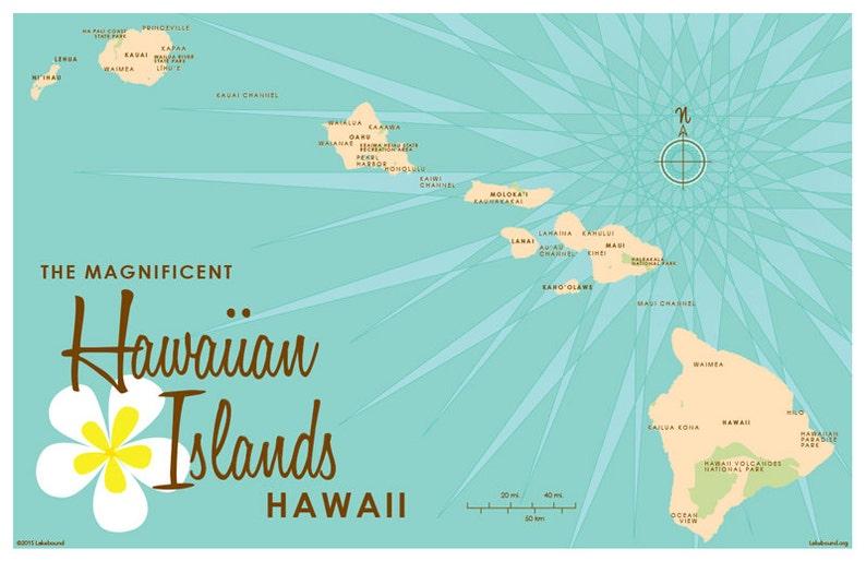 Hawaiian Islands Map Turquoise Map Art Print | Etsy