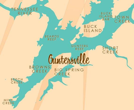 Lake Guntersville Map Lake Guntersville AL Map Print | Etsy Lake Guntersville Map