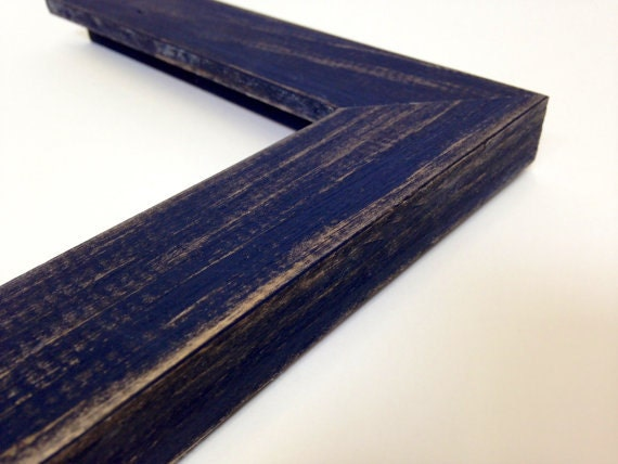 Navy Blue Rustic Wood Picture Frame Reclaimed Distressed Wood Etsy