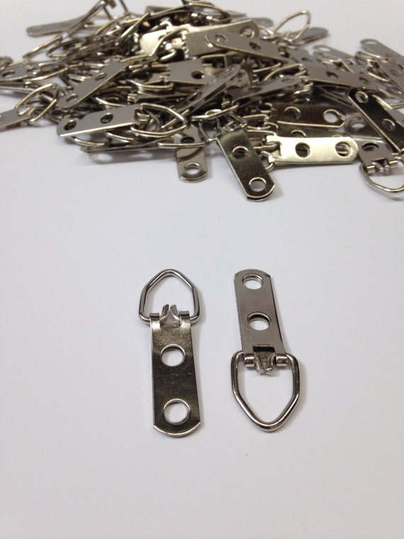 100 PICTURE FRAME D RING 2 HOLE FRAMING HANGERS STRAP HANGERS NO SCREWS SAMPLE