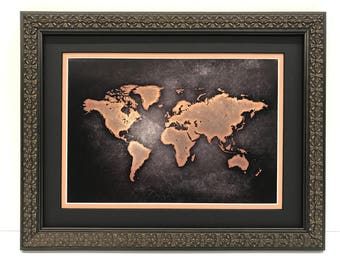Framed world map world map art black gray world map framed world map world map art black sepia world map framed map of the world wall map framed in compass frame world map art poster gumiabroncs Images