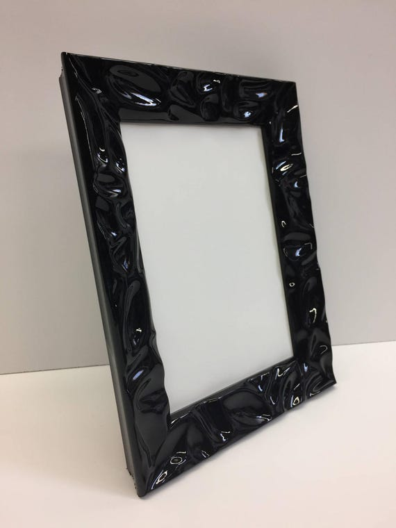 Black Lacquer Picture Frame 5x7 With Glass and Easel Backing   Etsy