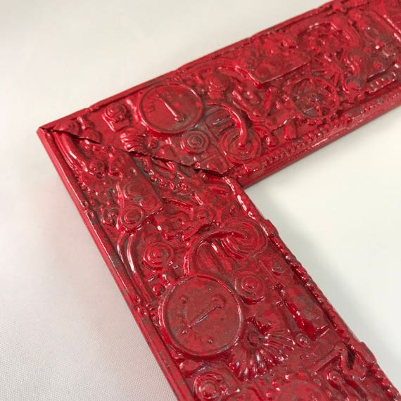 Red Steampunk Picture Frame 5x7 Wood Picture Frame With Etsy