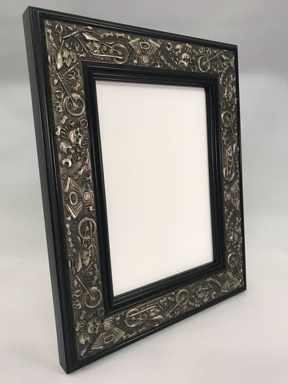 Harley Davidson Motorcycle Picture Frame Silver And Black Etsy