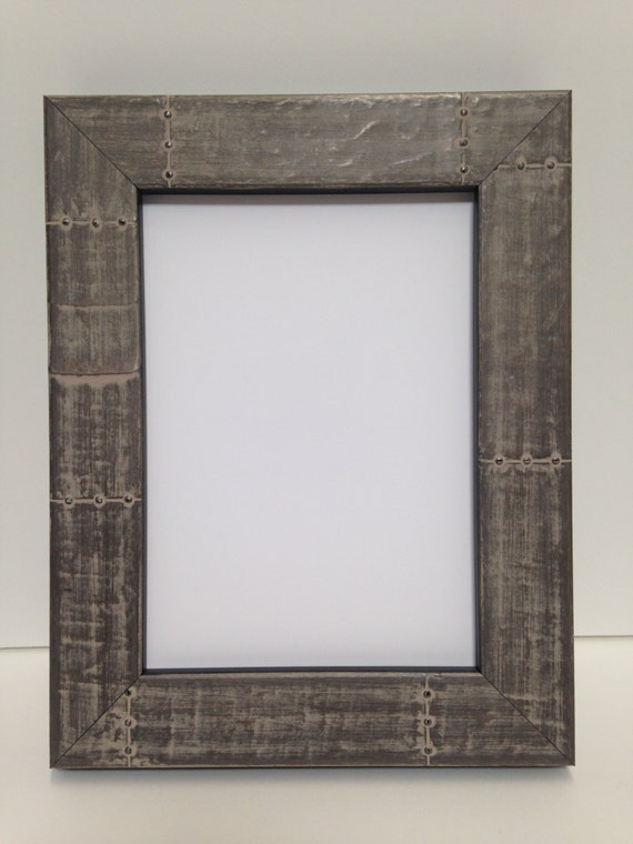 riveted metal look all wood picture frame 3x5 4x6 5x7 etsy