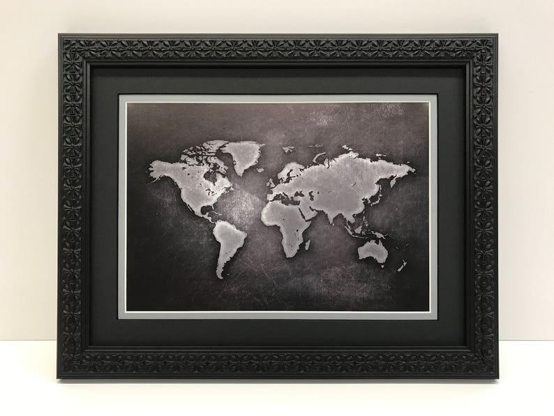 Framed World Map World Map Art Black & Gray World Map | Etsy