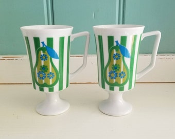 Pear Cup, Pear Footed Pedestal Mugs Set of Two (2)