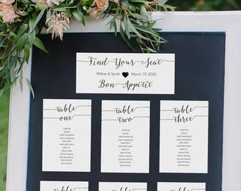 Black Seating Chart 4x6 Printable - Instant Download - Editable PDF - Set of 30 - Wedding table assignment cards - 4x6 inch cards - #GD0714
