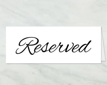 graphic about Reserved Sign Printable referred to as Reserved printable Etsy