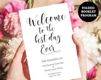 "Belle Booklet Program Printable - Wedding Program - Instant Digital Download - DIY Template - Editable PDF -5.5"" x 8.5"" folded - #GD0111"