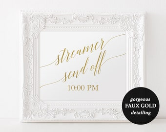 Gold Streamer Send Off Sign - Printable Gold Sign - 5x7 and 8x10 inch sign - Gold Wedding Sign - Instant Download - Sign Template - #GD3424