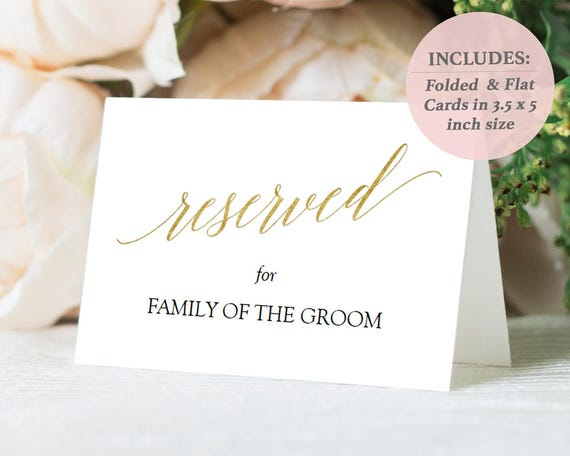 graphic regarding Printable Tent Card called Gold Reserved Signs or symptoms - Folded Reserved Playing cards - Flat Reserved Playing cards - Gold Foil Printable Tent Card - Quick Down load PDF - 3.5 x 5 - #GD3416