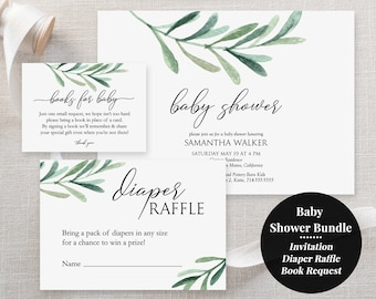 Baby Shower Bundle - Printable Templates - Greenery Baby Shower Invitation - Olive Leaf Eucalyptus - Diaper Raffle - Book Request - #GD3829
