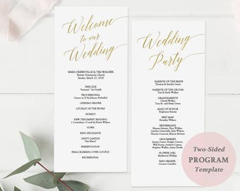 Modern Gold Wedding Program Printable - Tall Wedding Ceremony Program - Gold Foil - Instant Download PDF - Double Sided 4x9 inches - #GD3405