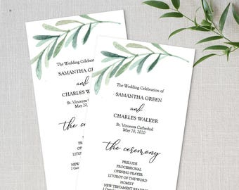 Printable Greenery Wedding Program Template - Double Sided 4x9 Inches Ceremony Program PDF - Instant Download - Olive Leaf Green - #GD3804