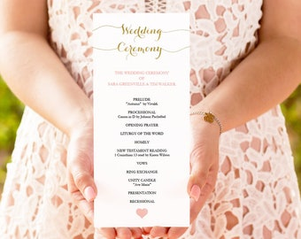 Gold and Blush Tall Program Printable heart -  Instant download - DIY Program Template - Wedding Ceremony - 4x9 inches double sided- #GD1405
