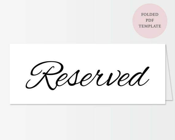 image regarding Printable Reserved Sign known as Printable Reserved Indication - Clic Uncomplicated Script - Immediate Down load - Editable PDF - Wedding day - Folded Tent-card - 4.25 x 11 inches - #GD3202