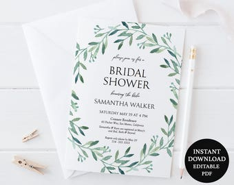 Greenery Invitation 5x7 Printable - Green Wreath Watercolor Olive Branch - Bridal Shower - Couples Shower - Instant Download PDF - #GD3814