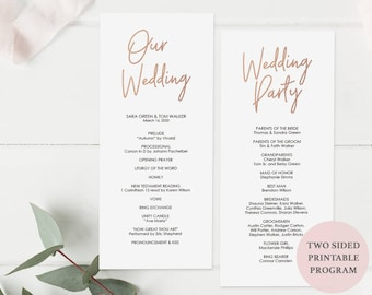 Rose Gold Wedding Program Printable - DIY Template - Instant Download - Editable PDF - Double Sided - Tall Program 4x9 inches - #GD0414