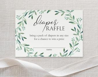Printable Diaper Raffle Card - Diaper Raffle Ticket - Baby Shower - Greenery Card - Green Wreath - Printable PDF - 2.5x3.5 inches - #GD3823