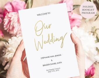 Gold Wedding Program - Folded Booklet Ceremony Program - Instant Download - Editable PDF - DIY Program Printable - 5.5 x 8.5 inches -#GD0316